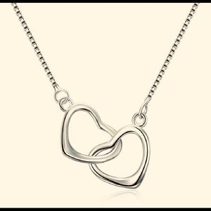 Sterling Silver Double Open Heart Necklace
